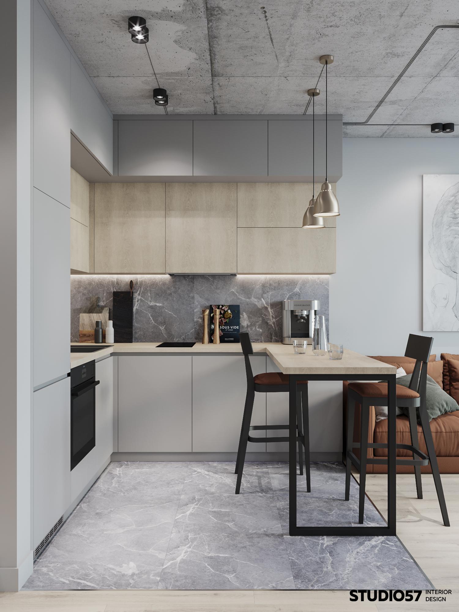 Кухня-гостиная. Зона кухни. Вид 1.