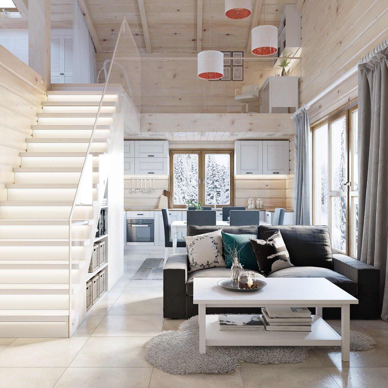 Дизайн интерьера двухэтажного деревянного дома