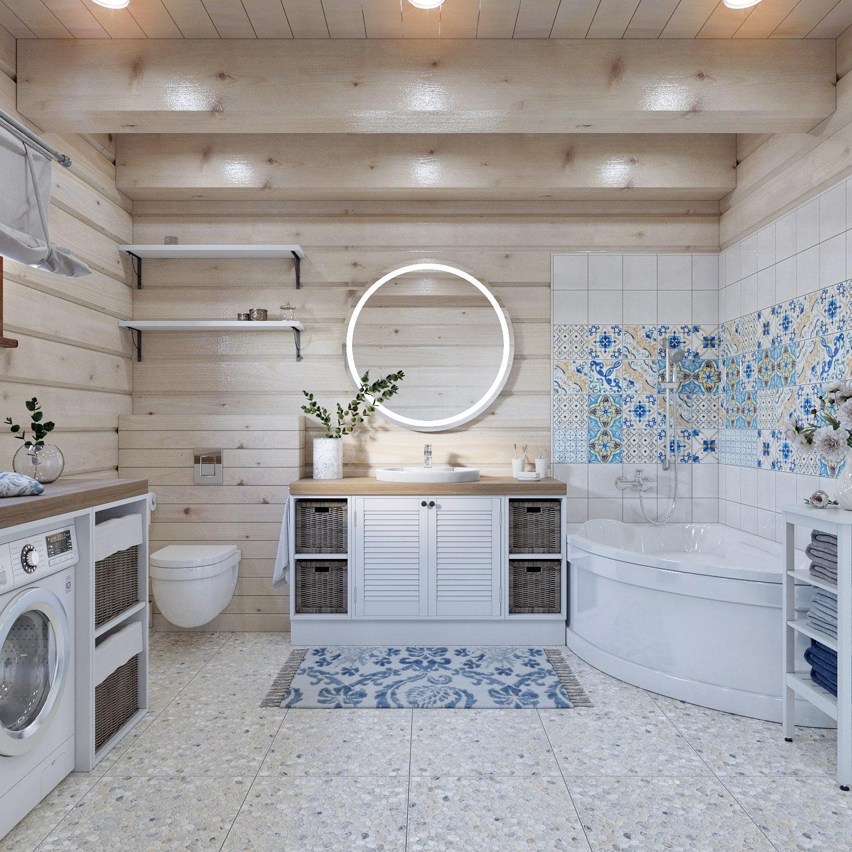 Большая ванная комната в деревянном доме