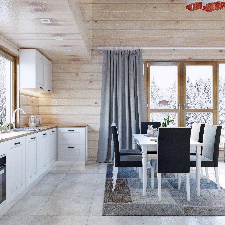 Фото светлой кухни в деревянном доме