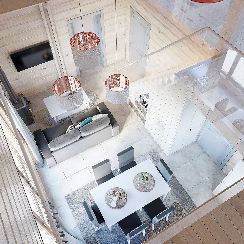 Планировка гостиной комнаты в двухэтажном доме