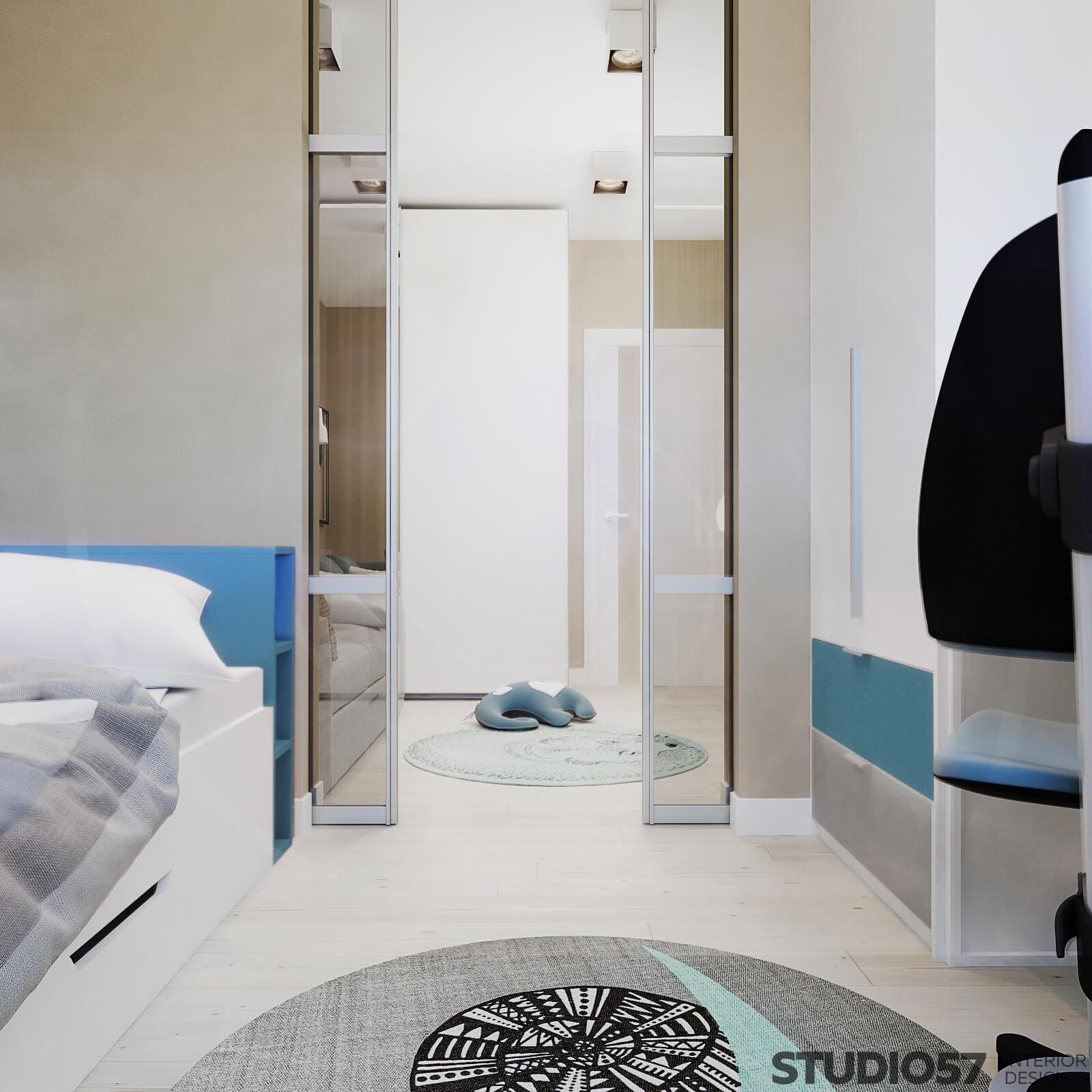 Children's room with sliding doors