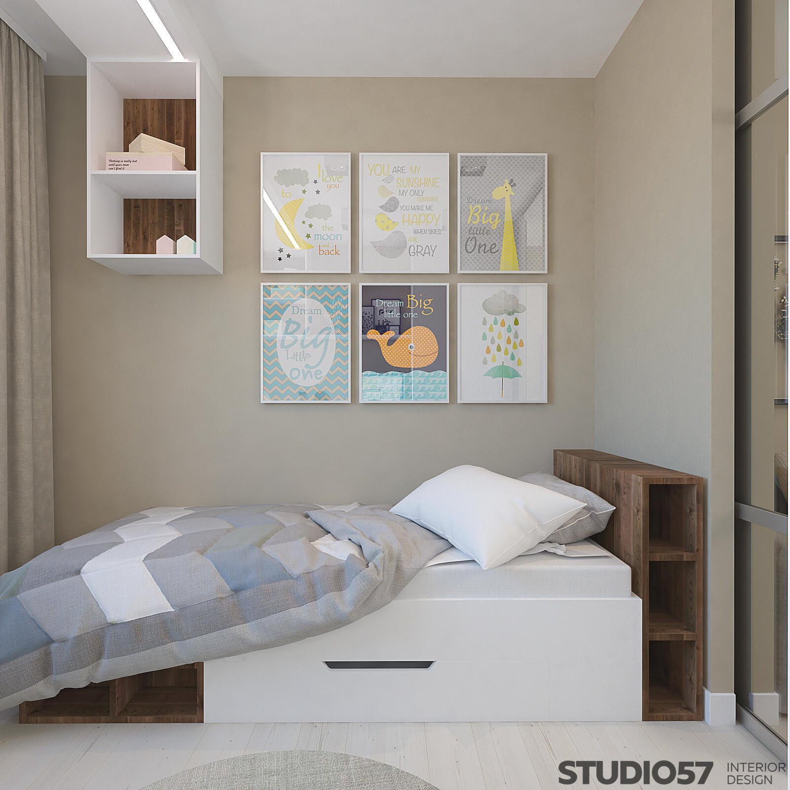 Children's room for a boy in blue shades