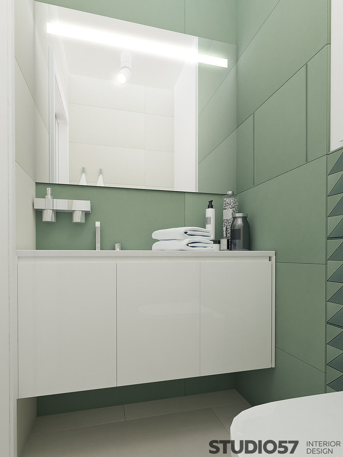 Photo of the bathroom in marsh color