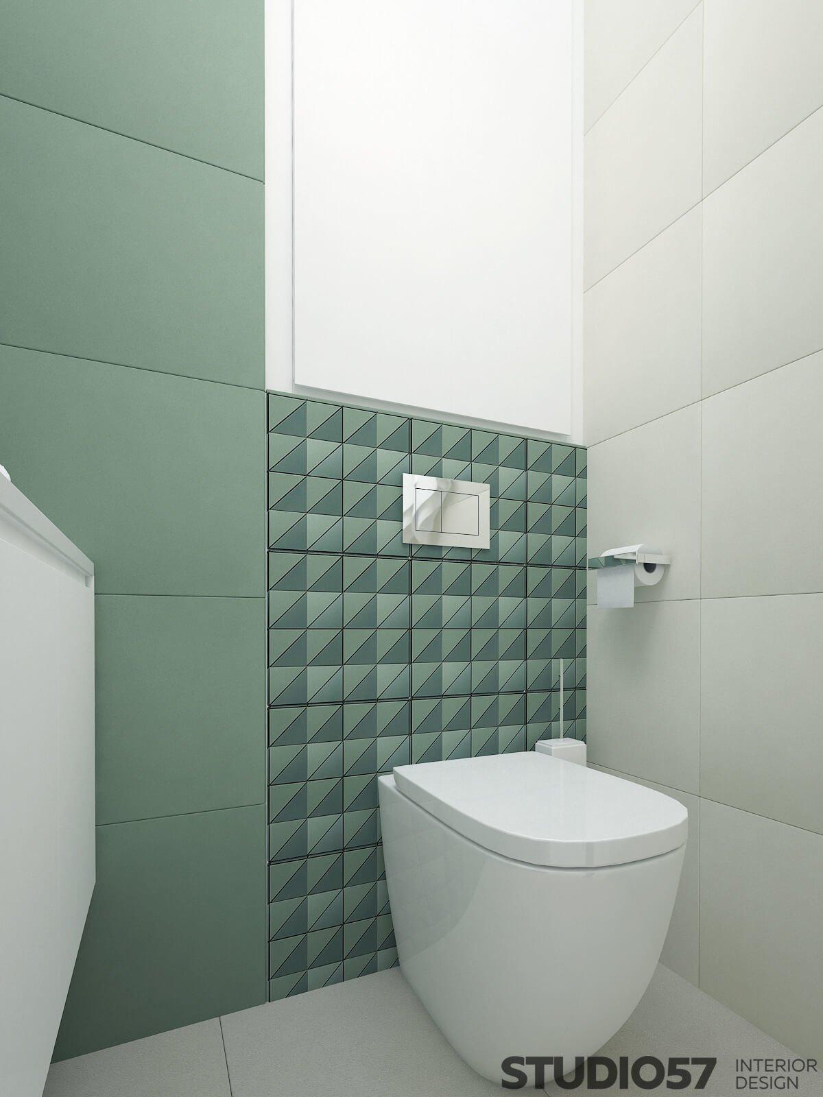 Draft bathroom in dark green color