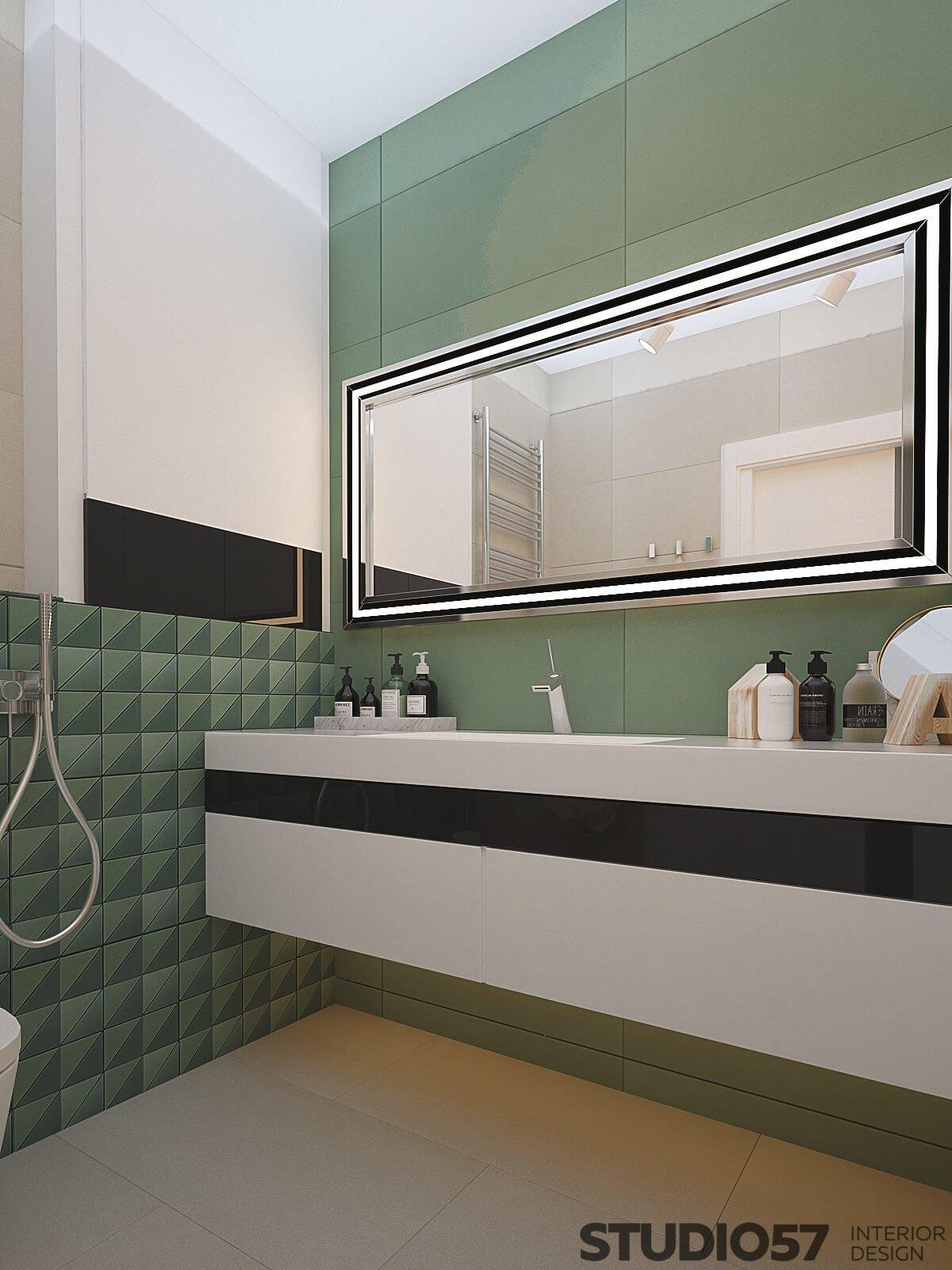 Green washbasin area