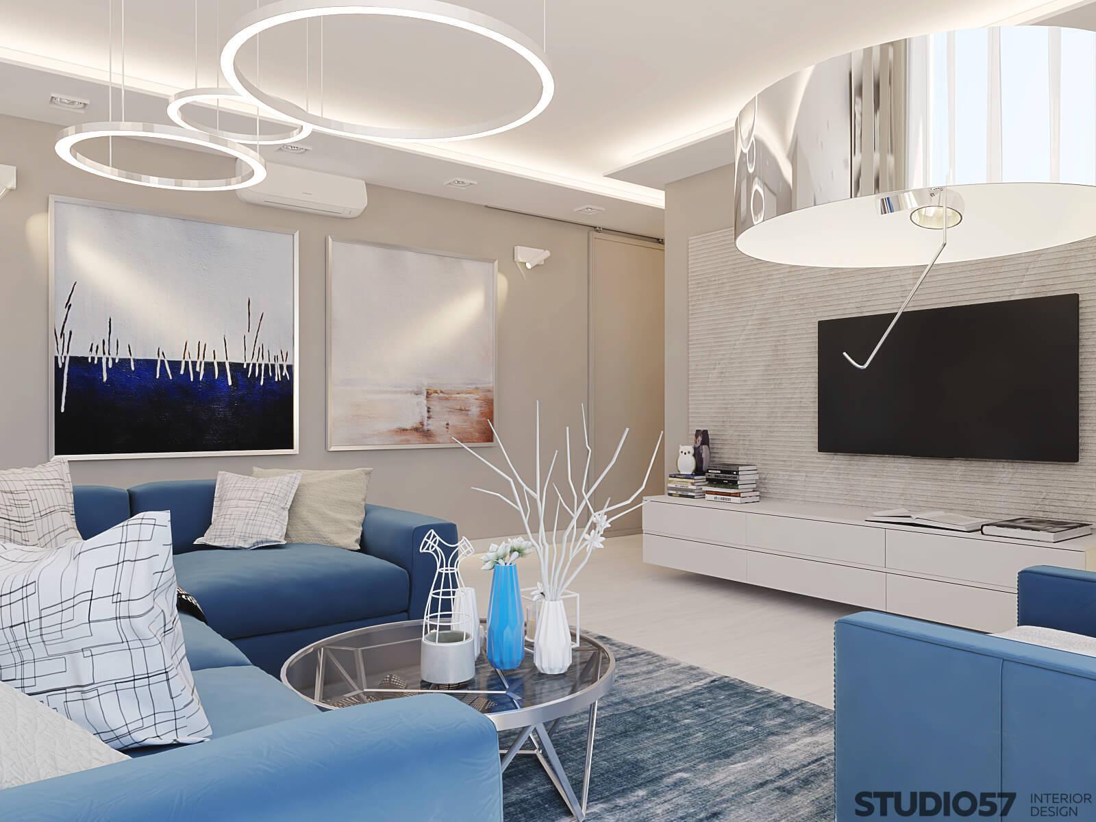 Living room lights in blue