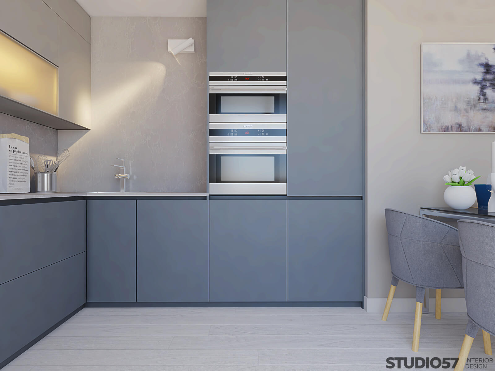 Kitchen interior in blue color