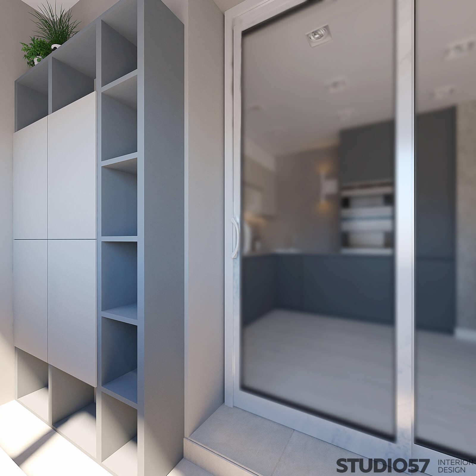 Loggia interior with wardrobe