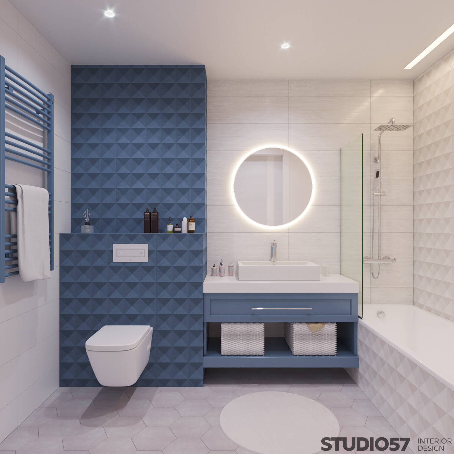 Blue relief tiles in the bathroom
