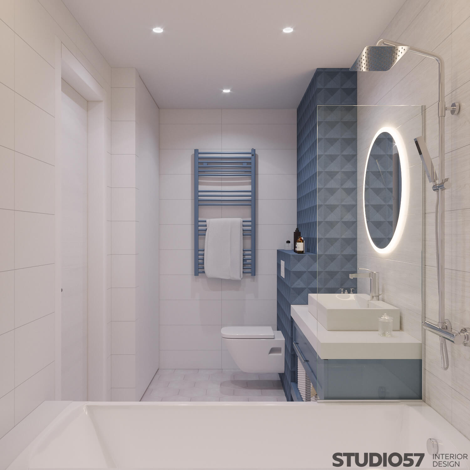 Interior bathroom with white and blue tiles