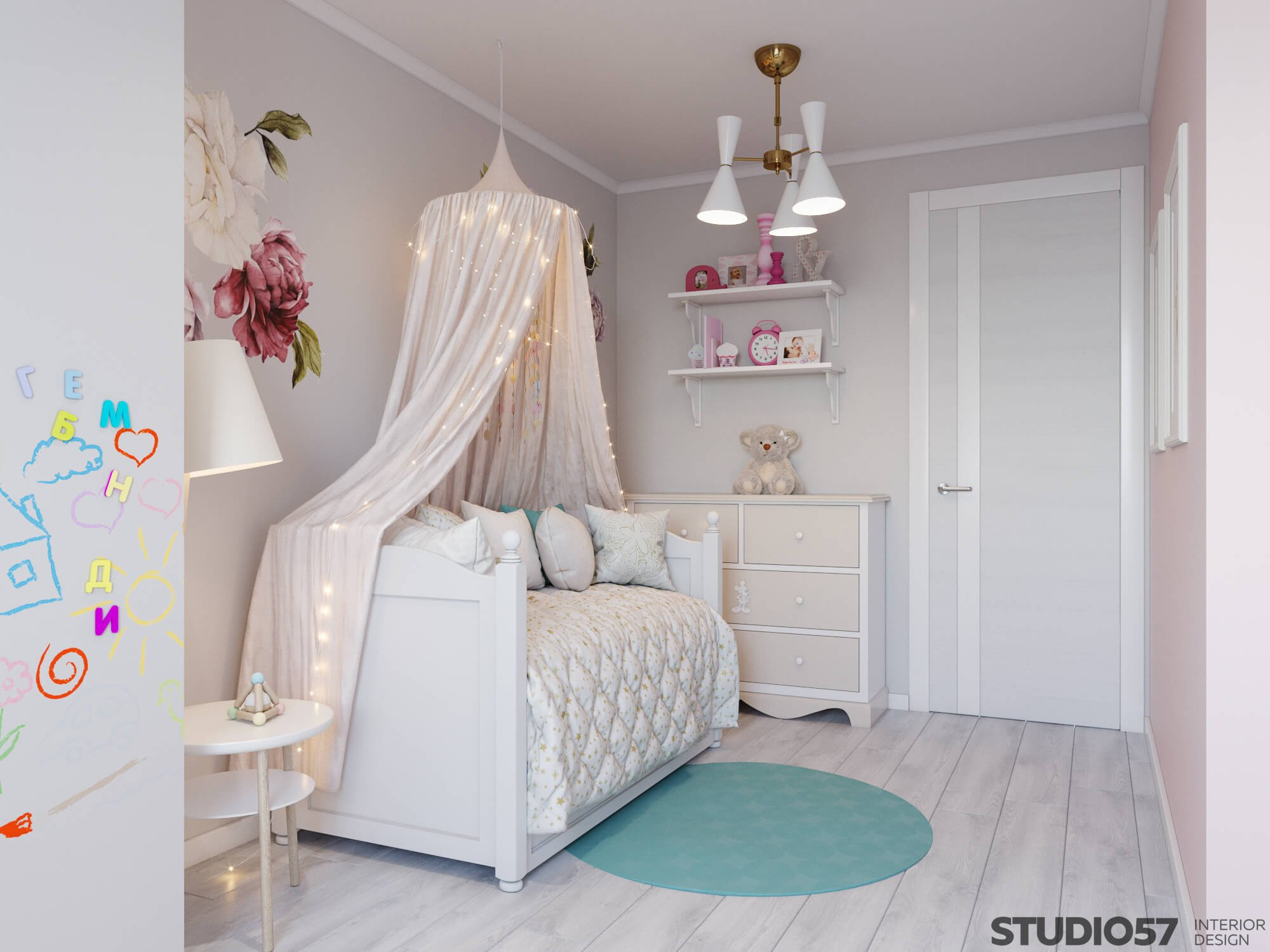 Delicate shades in the design of the children's room