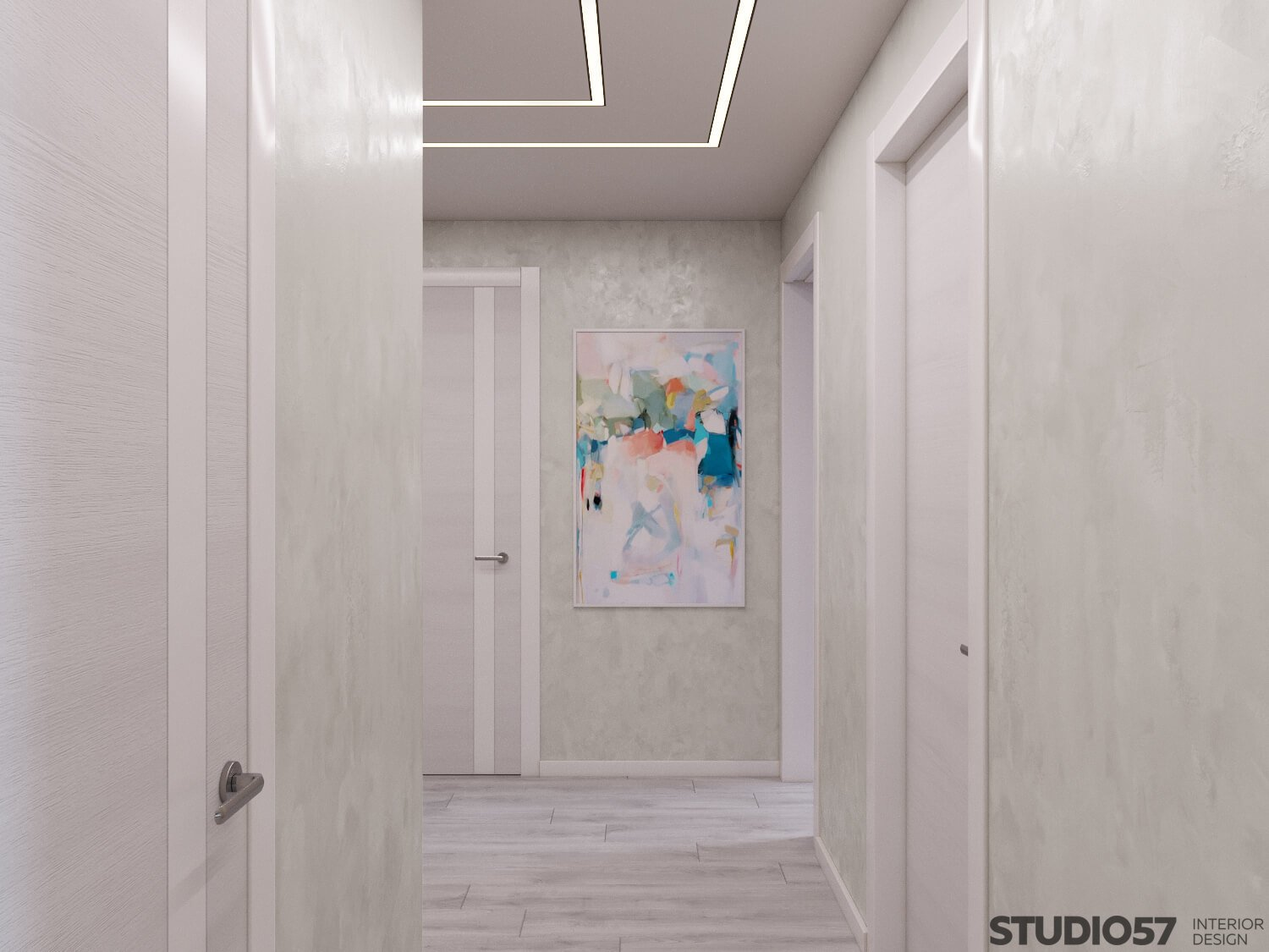 White wallpaper with a picture in the hallway