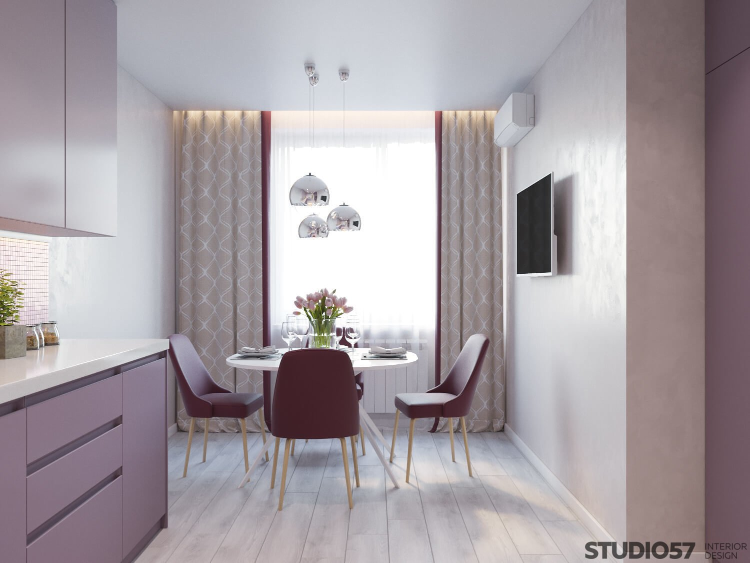 Dining area in pink