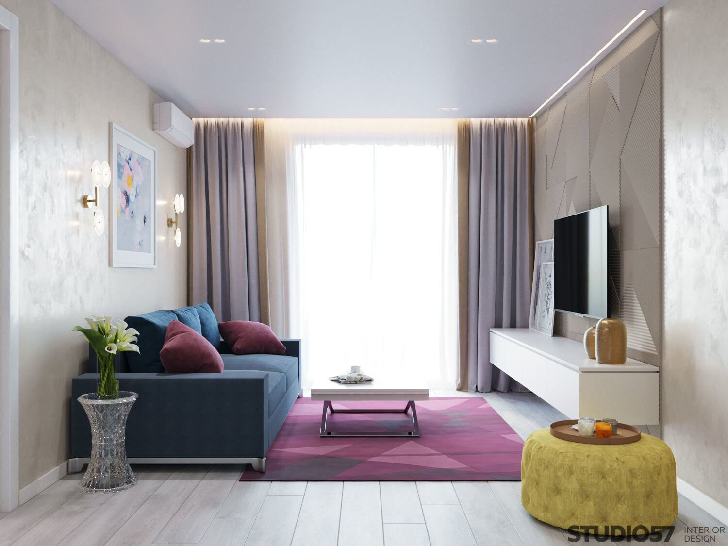 Blue and pink shades in the living room