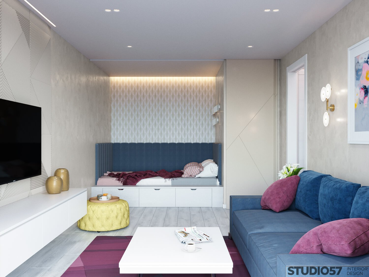 Photo design living room with a bed