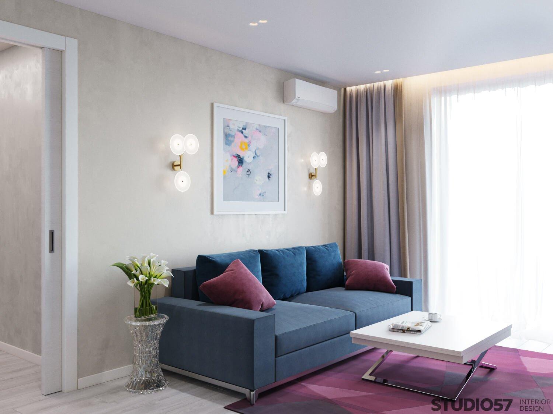 Interior burgundy living room